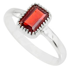 1.46cts natural red garnet 925 sterling silver solitaire ring size 7 r77197