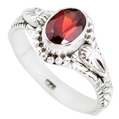 1.46cts natural red garnet 925 sterling silver solitaire ring size 7 r85607