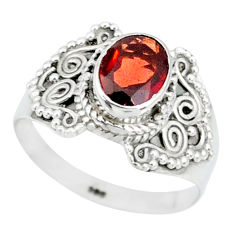 2.01cts natural red garnet 925 sterling silver solitaire ring size 7 r87021