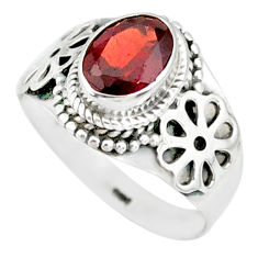 1.96cts natural red garnet 925 sterling silver solitaire ring size 7 r87023