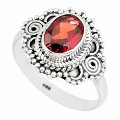 2.04cts natural red garnet 925 sterling silver solitaire ring size 7 r87027