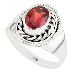 1.99cts natural red garnet 925 sterling silver solitaire ring size 7 r87028