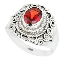 2.13cts natural red garnet 925 sterling silver solitaire ring size 7 r87032