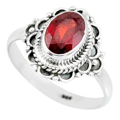 1.83cts natural red garnet 925 sterling silver solitaire ring size 7 r87038