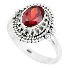 1.97cts natural red garnet 925 sterling silver solitaire ring size 7 r87040