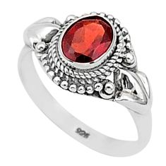 1.79cts natural red garnet 925 sterling silver solitaire ring size 7 t1352