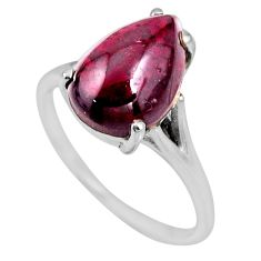 5.80cts natural red garnet 925 sterling silver solitaire ring size 8 r53962