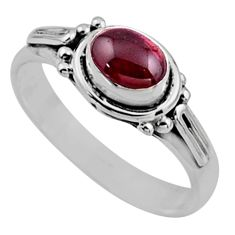1.66cts natural red garnet 925 sterling silver solitaire ring size 8 r54401