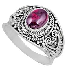 2.13cts natural red garnet 925 sterling silver solitaire ring size 8 r57943