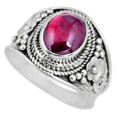 3.02cts natural red garnet 925 sterling silver solitaire ring size 8 r58383