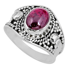 2.92cts natural red garnet 925 sterling silver solitaire ring size 8 r58389