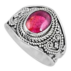 3.01cts natural red garnet 925 sterling silver solitaire ring size 8 r58391