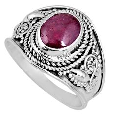 3.09cts natural red garnet 925 sterling silver solitaire ring size 8 r58394