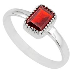 1.41cts natural red garnet 925 sterling silver solitaire ring size 8 r77195