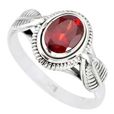 1.42cts natural red garnet 925 sterling silver solitaire ring size 8 r85602