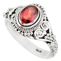 1.50cts natural red garnet 925 sterling silver solitaire ring size 8 r85621