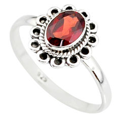 1.51cts natural red garnet 925 sterling silver solitaire ring size 8 r85630