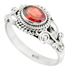1.52cts natural red garnet 925 sterling silver solitaire ring size 8 r85631