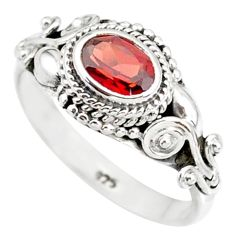1.55cts natural red garnet 925 sterling silver solitaire ring size 8 r85632