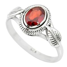 1.53cts natural red garnet 925 sterling silver solitaire ring size 8 r85638