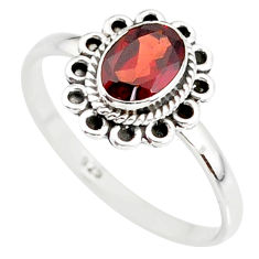 1.46cts natural red garnet 925 sterling silver solitaire ring size 8 r85639