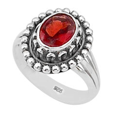 2.01cts natural red garnet 925 sterling silver solitaire ring size 8 t1339