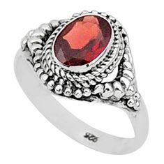 1.96cts natural red garnet 925 sterling silver solitaire ring size 8 t1394