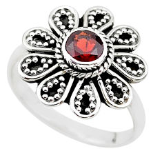 0.87cts natural red garnet 925 sterling silver solitaire ring size 8 t19845
