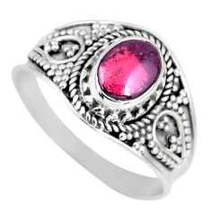 1.94cts natural red garnet 925 sterling silver solitaire ring size 9 r57950