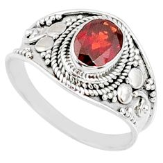 2.05cts natural red garnet 925 sterling silver solitaire ring size 9 r68975
