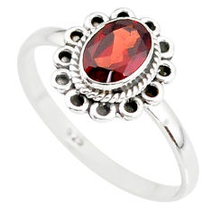 1.49cts natural red garnet 925 sterling silver solitaire ring size 9 r85601