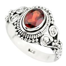 1.48cts natural red garnet 925 sterling silver solitaire ring size 9 r85622