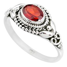 1.49cts natural red garnet 925 sterling silver solitaire ring size 9 r85640