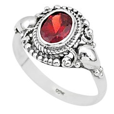 1.99cts natural red garnet 925 sterling silver solitaire ring size 9 t1369