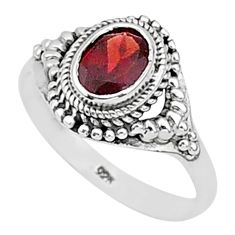 2.17cts natural red garnet 925 sterling silver solitaire ring size 9 t1399