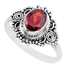 2.12cts natural red garnet 925 sterling silver solitaire ring size 9 t3598