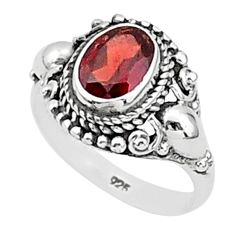 1.80cts natural red garnet 925 sterling silver solitaire ring size 6.5 t1375