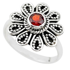 0.85cts natural red garnet 925 sterling silver solitaire ring size 7.5 t19859