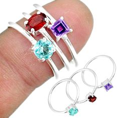 3.01cts natural red garnet amethyst 925 sterling silver 3 rings size 6.5 r92453