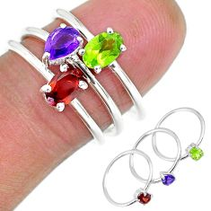 2.99cts natural red garnet amethyst 925 sterling silver 3 rings size 6.5 r92488