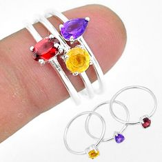 2.91cts natural red garnet amethyst 925 sterling silver 3 rings size 7.5 r93103