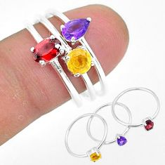 2.76cts natural red garnet amethyst 925 sterling silver 3 rings size 7.5 r93112