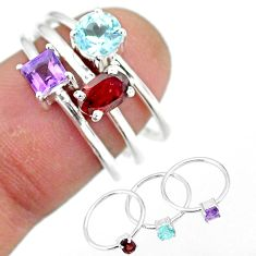 3.13cts natural red garnet amethyst 925 sterling silver 3 rings size 7 r92385