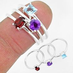 3.25cts natural red garnet amethyst 925 sterling silver 3 rings size 7 r93050