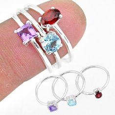 3.04cts natural red garnet amethyst 925 sterling silver 3 rings size 7 r93063