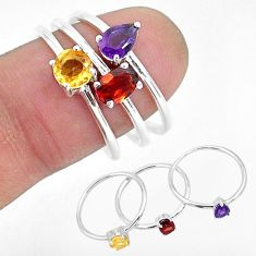 2.97cts natural red garnet amethyst 925 sterling silver 3 rings size 8 r93060