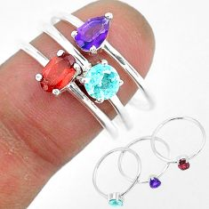 2.92cts natural red garnet amethyst 925 sterling silver 3 rings size 8 r93106