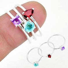 2.91cts natural red garnet amethyst 925 sterling silver 3 rings size 8 r93115