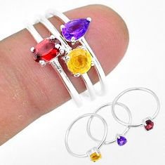 2.91cts natural red garnet amethyst 925 sterling silver 3 rings size 8 r93117