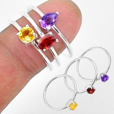 2.91cts natural red garnet amethyst 925 sterling silver 3 rings size 8 r93145